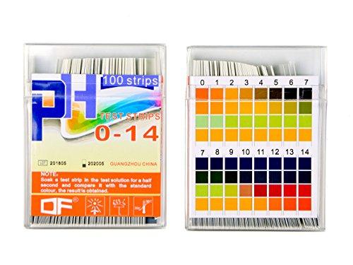Yolito Test PH Bandelettes pour l'eau Potable de Test Alcalin Acide, Cosmétique, Fruit, Essai PH de Corps, Clair pour Lire et Gamme Précise PH 0~14 (200pcs)