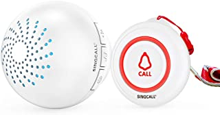 SINGCALL 呼び出しベル介護用 ポケットベル 緊急ボタン ナースコール 家庭用 高齢者 患者 妊婦 障碍者向 防水ドアベル よびだしベル 介護 呼び鈴 ワイヤレス 介護 (受信機1台 と 送信機1台)