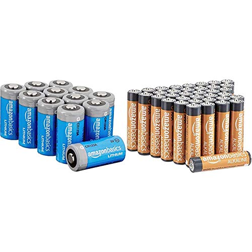 AmazonBasics Battery Combo Pack | CR123a 12-Pack, AAA 36-Pack (May Ship Separately)