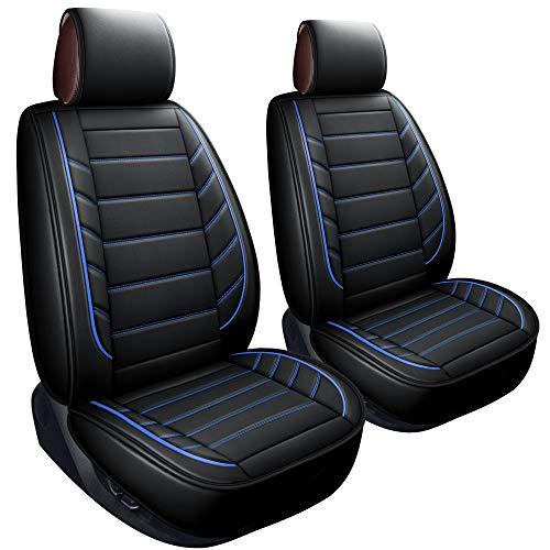 LUCKYMAN CLUB 2 Front Leather Seat Covers Fit for Jeep Wrangler Honda CRV Hrv Kia Optima Sportage Soul Forte Sorento Sedona Mazda cx7 cx5 cx30 Rx350 (2 PCS Front, Black and Blue)