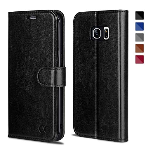 OCASE Samsung Galaxy S7 Edge Hülle Handyhülle [Magnetverschluss][ Premium Leder ][ Standfunktion ][ Kartenfach ] Brieftasche Klappetui Schutzhülle kompatibel für Samsung Galaxy S7 Edge Cover Schwarz
