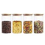 VIVILINEN Frascos de almacenamiento de alimentos Recipientes de vidrio para alimentos con tapas herméticas para café, dulces, galletas, arroz, 1300 ml / 44 oz (juego de 4)