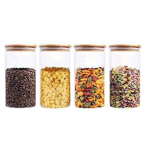 Barattoli per alimenti, contenitori per alimenti in vetro VIVILINEN con coperchi ermetici in bambù per caffè, caramelle, biscotti, riso, 1300...