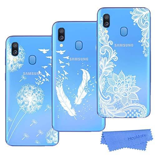 HopMore 3X Coques Coque pour Samsung Galaxy A40 Transparente Motif Swag Silicone Souple Etui Coques Antichoc Ultra Mince Fine Gel Bumper Case Étui Housse Transparent Design pour Fille Femme - B