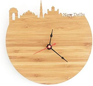 Anyzhantrade Irregular Wall Clock Wood Carving Seattle City Silhouette Quartz Clock (Color : D)