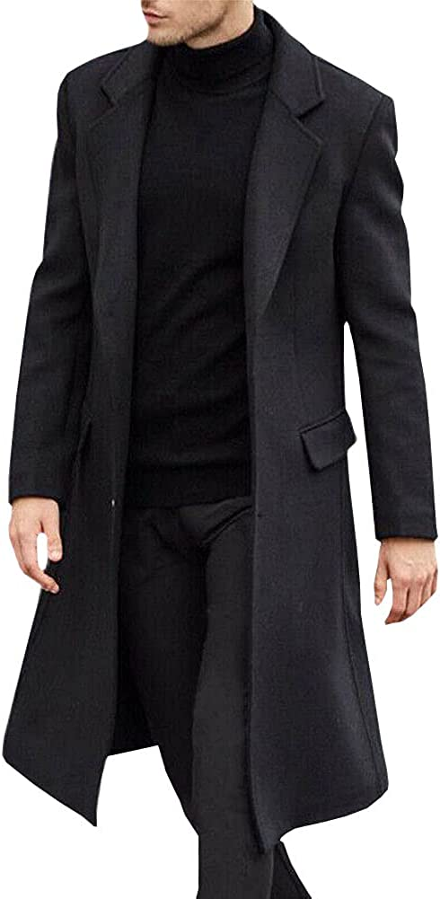 chouyatou Men's Casual Notched Lapel Single Breasted Wool Blend Midi Long Trench Pea Coat