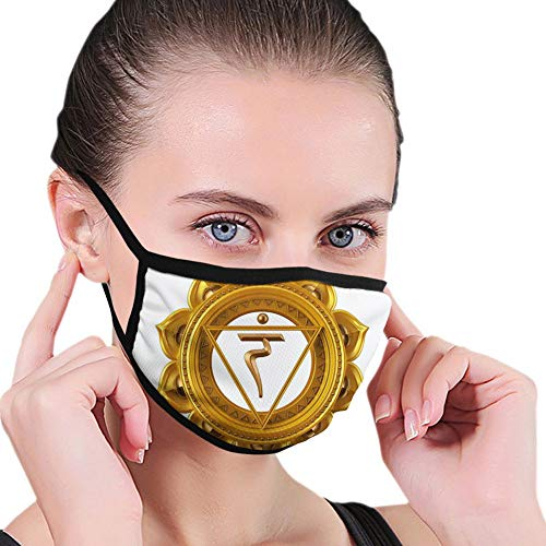 LESKETH Mode 3D gedruckte Gesichtsbedeckung,Mouth Shield Anti-Dust Shield for Women and Men Sports,Chakra Symbol Flower Rounded Original Design Ancient Power of Life Force Image,Soft Shield