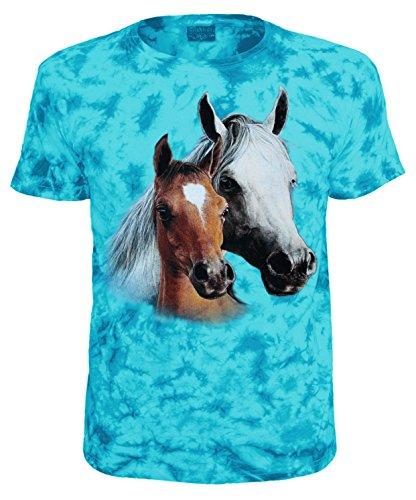 Kinder T-Shirt Tiermotiv 2 Pferde Blau Batik Größe 140