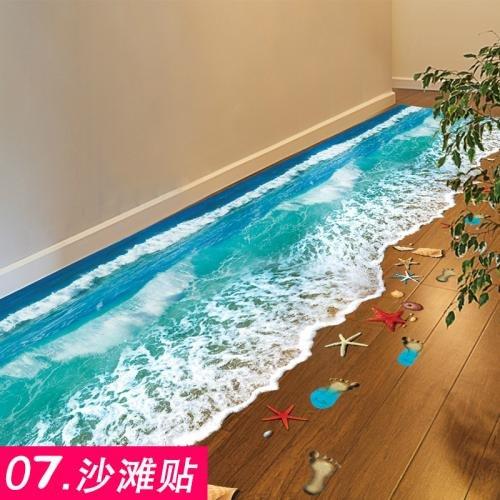 Wall Sticker ALLDOLWEGE Die Schlafzimmer Sind Modern 3D Bad WC Wasserdicht Fliesen Aufkleber Dekoration Wand Poster Wallpaper Wallpaper Strand Aufkleber Selbstklebende Klappe Schließen