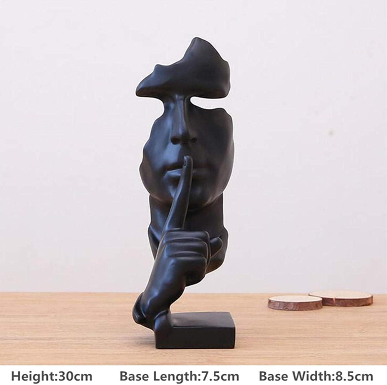 RanDal Resina Moderna cifra Statua Mestiere Astratto Scultura Arte Ufficio Home Natale Decorazioni - Nero