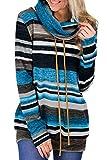 CORAFRITZ Womens Plus Size Sweatshirt Cowl Neck Hoodie with Drawstring Long Sleeve Blouse T Shirt Jumper Tops Winter Blue