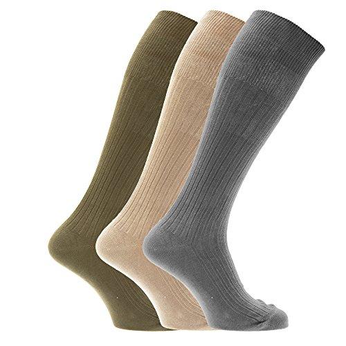 Textiles Universels Chaussettes hautes striées 100% coton (lot de 3 paires) - Homme (EUR 39-45) (Motif 7)