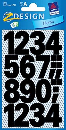AVERY Zweckform 3785 Zahlen Aufkleber 48 Stück (Sticker mit Nummern von 0-9, Schriftgröße 25 mm, wetterfeste Folie, permanent, starker Halt, Etiketten zum Basteln, Dekorieren, Gästebuch, Fotoalbum)