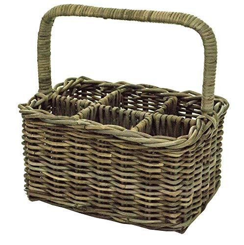 east2eden Kubu Rattan Wicker 6 Compartment Wine Bottle Holder Storage Carry Basket