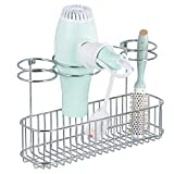 iron and blow dryer holder - mDesign Metal Wire Cabinet/Wall Mount Hair Care & Styling Tool Organizer - Bathroom Storage Basket for Hair Dryer, Flat Iron, Curling Wand, Hair Straightener, Brushes - Holds Hot Tools - Chrome