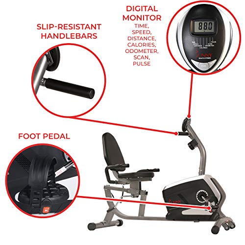 Sunny Health & Fitness Magnetic Recumbent Bike Exercise Bike with Digital Monitor, 300 lb Capacity, Easy Adjustable Seat, Pulse Rate Monitor