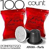 Caffe POMPEII - POMPRESSO - Nespresso Compatible Coffee Capsules for All Nespresso Original Line Machines (ATENA Forte, 100 capsules)