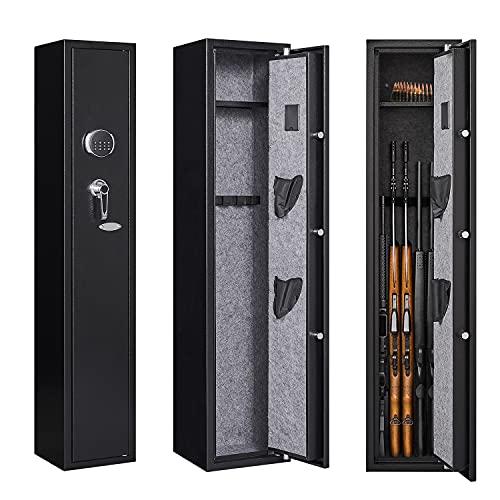 KAER Rifle Gun Safe Quick Access 5 Gun Storage Cabinet Long Gun Security Safe with Digital Keypad Removable Shelf Pistol Holder and Separate Ammo Area - BX501