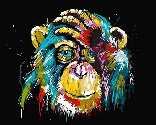 Pintar por números Animales Mono - Pintura para pintar por números con pinceles y colores brillantes - Dibujos por numeros para pintar