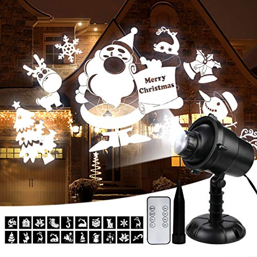 Christmas Projector Lights, 3D Rotating LED Snowfall Projection Lamp with Remote Control, Outdoor Waterproof Sparkling Landscape Decorative Lighting for Xmas Holiday Halloween