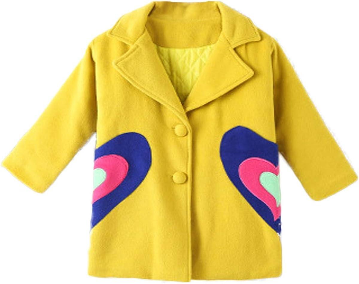 JELEUON Big Little Kids Girls Elegant Woolen Heart Print Button Fashion Warm Blended Winter Coat Jacket Clothes Outwear