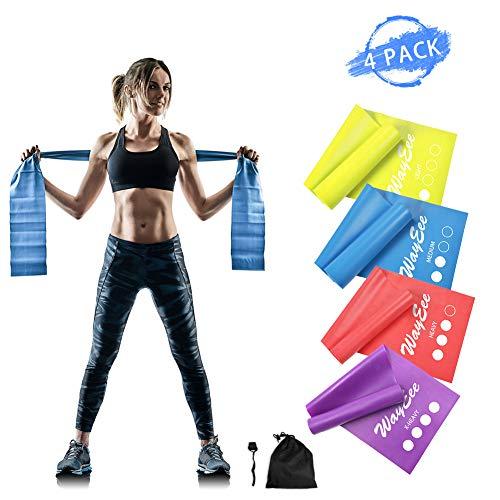 WayEee Widerstandsbänder Fitnessbänder 4er Set Gymnastikbänder aus Naturlatex Gummiband Fitness Theraband für Muskelaufbau, Yoga, Crossfit, Gymnastik, Pilates