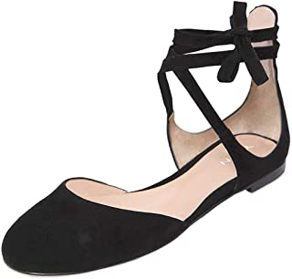 YDN Women Chic Round Toe D'Orsay Ankle Wrap Ballet Flats Lace Up Cutout Suede Ballerina Dress Shoes