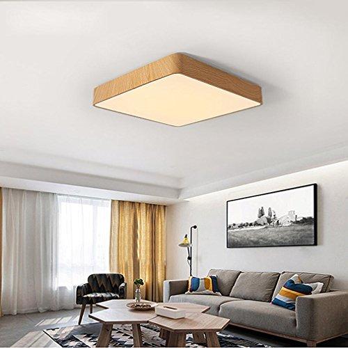 Maniny LED Enfants Chambre Lumière Plafond Lampe Simple Carré Chambre Lumière Bureau Maternelle Étude Allée Bois Grain Plafonnier, 50 * 50cm Monochromatic White Light