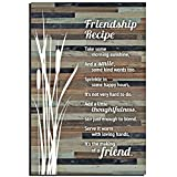 Lela & Ollie Friends Wood Plaque Inspiring Quotes (6 x 9 Inches) - Classy Rustic Vertical Frame Wall and Tabletop Art Decoration with Easel and Hanging Hook | Friendship Recipe Thoughtfulness Sayings