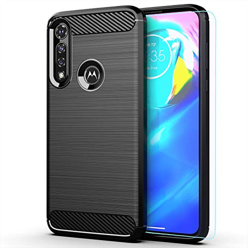 Moto G Power 2020 case,Motorola G Power case,with HD Screen Protector,MAIKEZI Soft TPU Slim Fashion Non-Slip Protective Phone Case Cover for Motorola Moto G Power 2020(Black Brushed TPU)