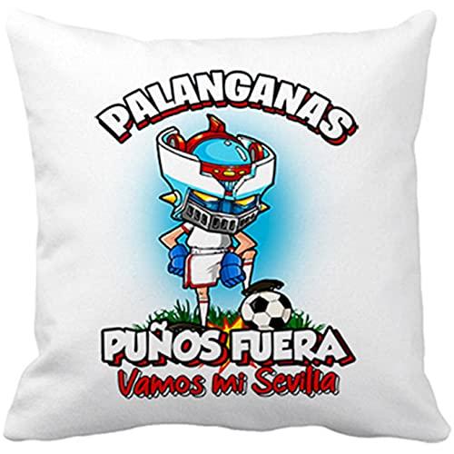 Diver Bebé Cojín con Relleno Frase palanganas puños Fuera Parodia Robot de los 80 para nostálgicos futboleros de Sevilla - Blanco, 35 x 35 cm