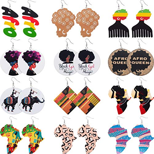 12 Pairs African Map Wooden Earrings African Women Dangle Earrings Natural Ethnic Earrings (African Afro Styles)