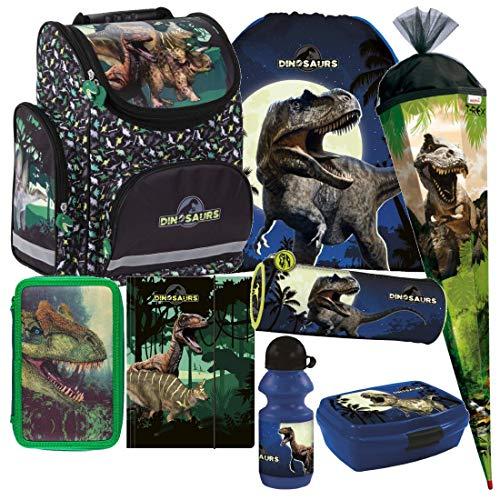 Dinosaurier Dino 8 Teile Set T- Rex Schulranzen Ranzen Tasche TORNISTER SCHULTÜTE 85 cm Federmappe mit Sticker von Kids4shop