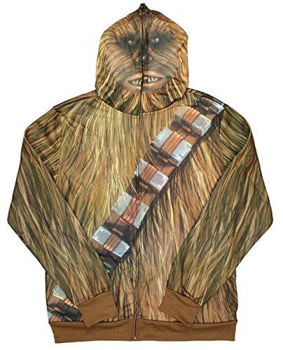 Männer's Star Wars Chewbacca Full On Chewie Kostüm Zip Hoodie (Groß)