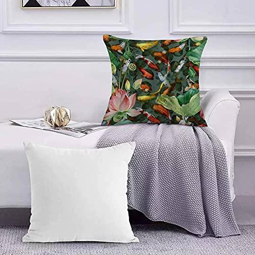 Ccstyle Moderne Dekorative Baumwolle Set Kissenbezug Realistische Zen japanische Gartenteich Karpfen Koi mit Blume Lotus...