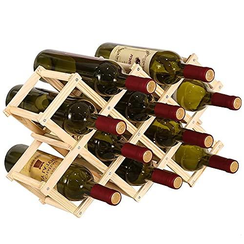 Estantes Vino Plegables,Botellero Madera,Porta Botella Vino Madera Rústica,Botellero Plegable,Se Utiliza para Exhibición,Decoración,Armarios,Bares,Puede Poner 10 Botellas De Vino