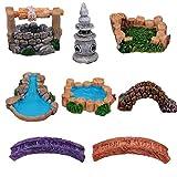 Hemoton 8 Unidades de Estantería en Miniatura Estanque Puente Torre Luz Estatuilla Micropaisaje Ornamento Acuario Hadas Jardín Decoraciones (Estilo Aleatorio)