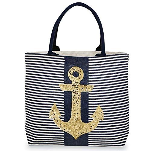 Mud Pie Women's Fashion Summer Sea Resort Dazzle Jute Tote 80300010 (Anchor Navy)