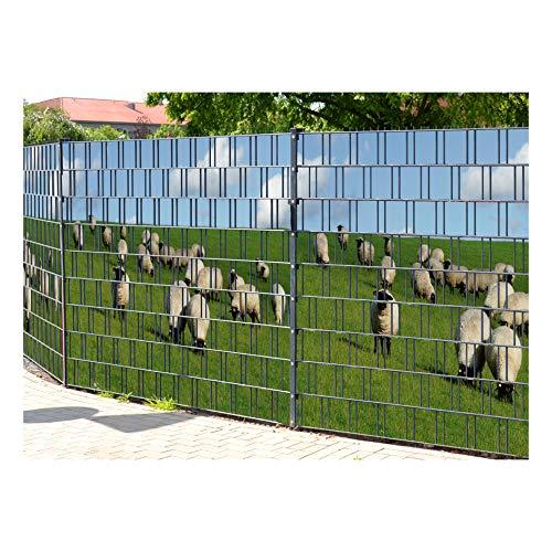 PerfectHD Zaunsichtschutz | 30 Motive | Sichtschutzstreifen für Doppelstabmattenzaun | Windschutz Sonnenschutz Blickdicht | 2,50m x 1,80m | 19cm | 9 Streifen | Baltrum