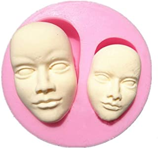 Molde de silicona de cara humana, para fondant de tartas, chocolate, polímero,