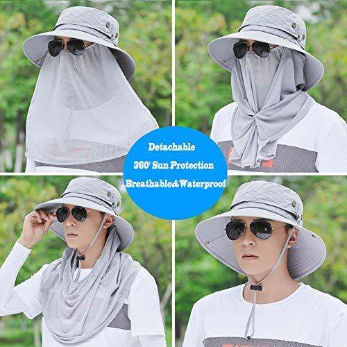 HUHD Angelmütze Mit Nackenklappe,breite Krempe Sunscreen Cover Sonnenschutz Sommer Outdoor Aktivitäten Für Männer-h One Size