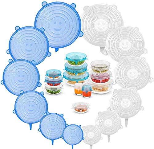 Heltus12 Pcs Silicone Stretch Lids, Various Sizes Durable Food Bowl Cover, Expandable Fresh-Keeping Cover (12 Pcs Set)