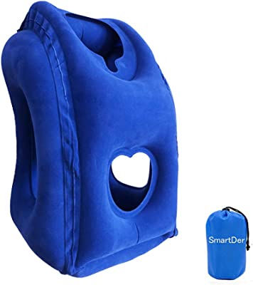 SmartDer Upgraded Inflatable Travel Pillow, Multifunctional Airplane Pillow, Portable Neck and Head Support Plane Pillow for Airplanes, Flights, Cars, Buses, Trains, Office Napping (Blue)