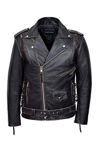 SR Real Leather Negan Chaqueta de Cuero Verdadero El Águila para Hombre Color Negro Frotado Piel de Vacuno Estilo Motero Casual Ideal para La Moda de la Ciudad Super Trendy (XL)