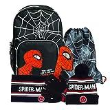Marvel Comics Spiderman Back to School Boys Mochila Set | Producto Oficial | Bolsa de Escuela Superhéroe, Guantes de Invierno Snood, Juego a Juego