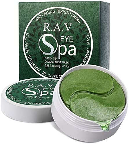 R A V Under Eye Collagen Patches Green Tea Eye Masks with Hyaluronic Acid Vitamins Eye Gel Treatment product image