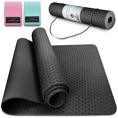 Tappetino da Yoga TPE Tappetino Fitness Palestra Pilates Tappetini Sport Materassino Yoga Mat Antiscivolo Pieghevole, 183 x 63 x 0,6 cm (Nero)