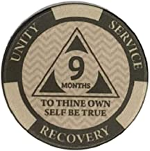 9 Month AA Chip Third Step Prayer on Back 270 Day Sobriety Chip Monthly AA Coins