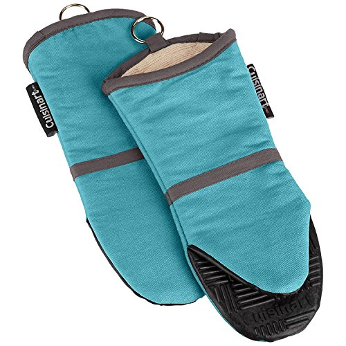 Cuisinart Silicone Oven Mitts  Heat Resistant up to 500 degrees F Handle Hot Cooking Items Safely  NonSlip Grip Oven Gloves with Soft Insulated Deep Pockets and Convenient Hanging Loop  Aqua 2pk