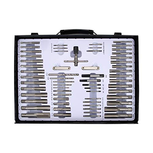 Muzerdo 115PCS Sae and Metric Bearing Steel Tap and Die Rethreading Kit with Metal Box